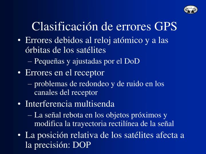 Clasificación de errores GPS
