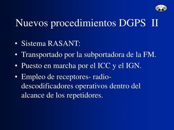 Nuevos procedimientos DGPS  II