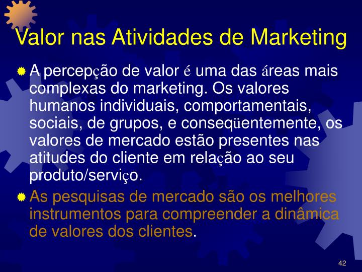Valor nas Atividades de Marketing