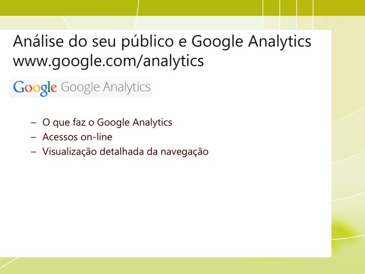 Análise do seu público e Google