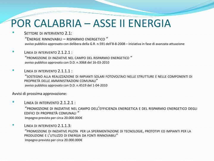 POR CALABRIA – ASSE II ENERGIA