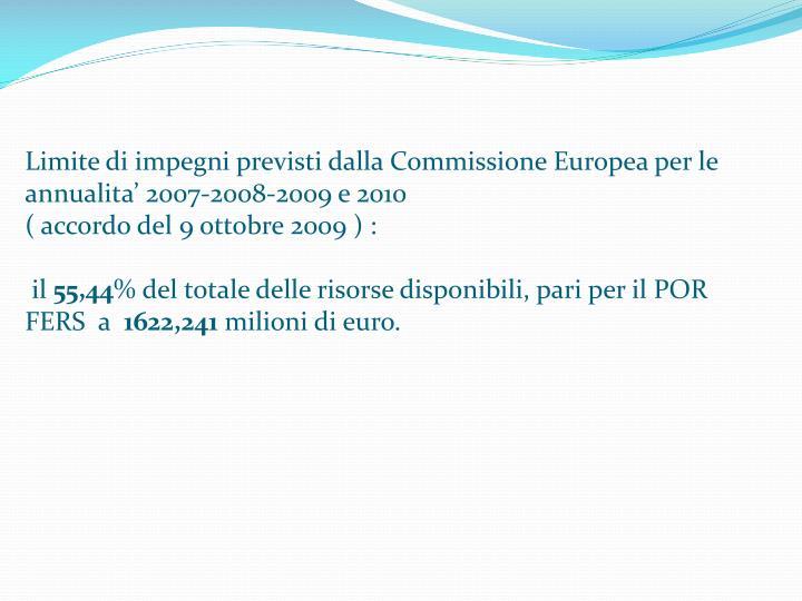 Limite di impegni previsti dalla Commissione Europea per le