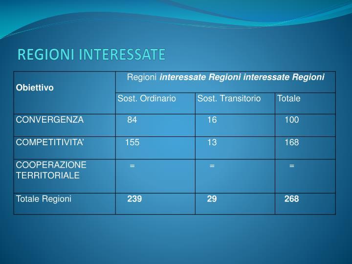 REGIONI INTERESSATE