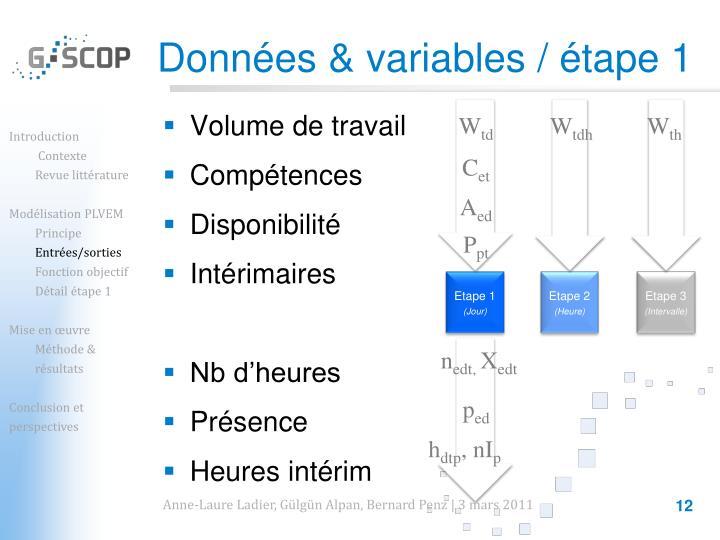 Données & variables / étape 1