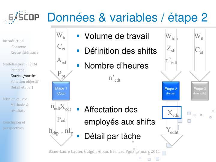 Données & variables / étape 2
