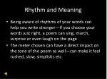 rhythm and meaning