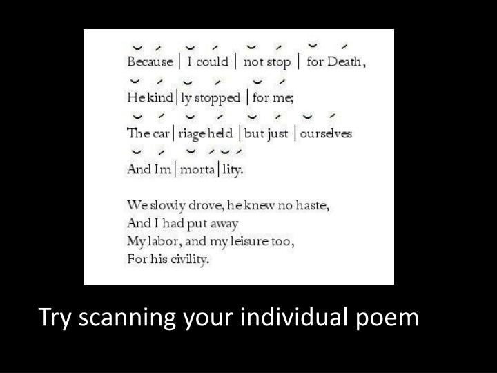 Try scanning your individual poem