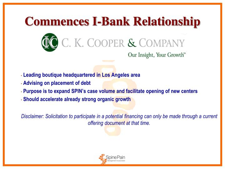 Commences I-Bank Relationship