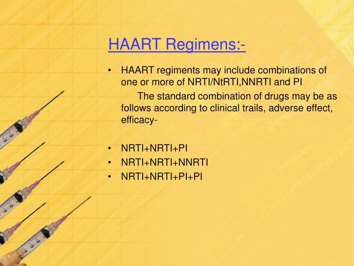 HAART Regimens:-