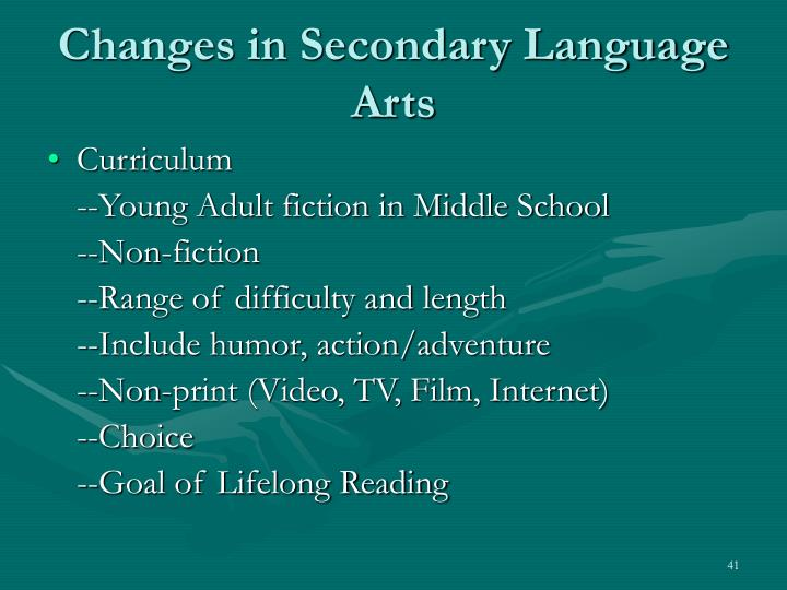Changes in Secondary Language Arts