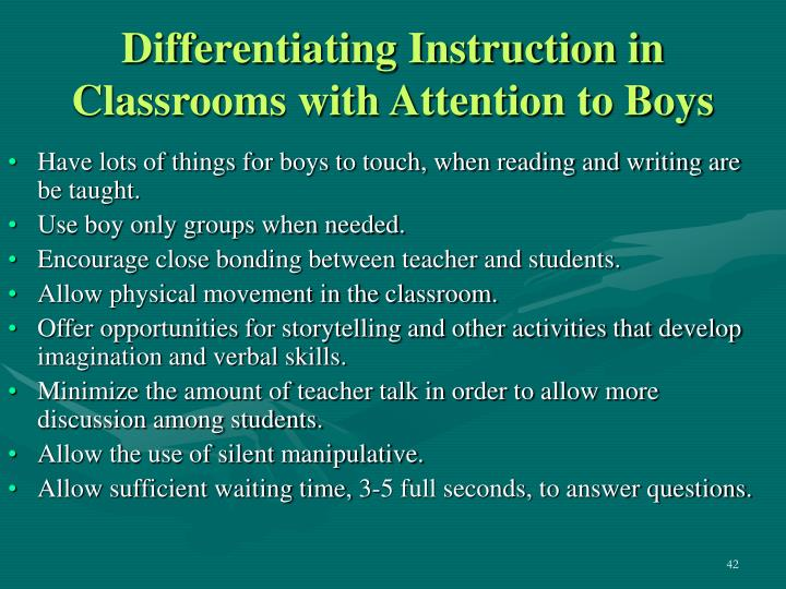 Differentiating Instruction in Classrooms with Attention to Boys