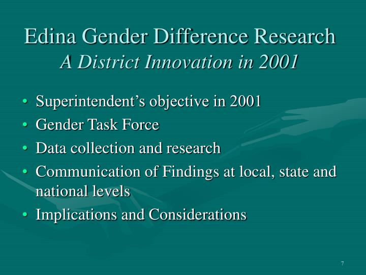 Edina Gender Difference Research