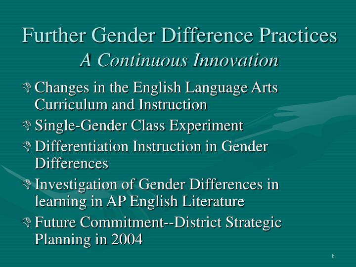 Further Gender Difference Practices