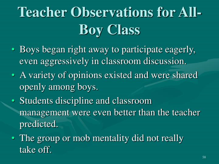 Teacher Observations for All-Boy Class