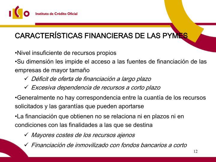 CARACTERÍSTICAS FINANCIERAS DE LAS PYMES