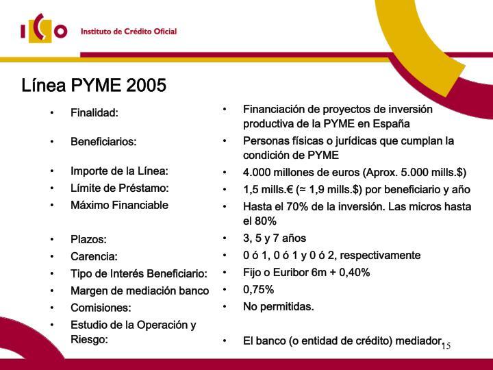 Línea PYME 2005