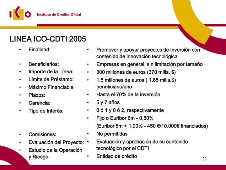 LINEA ICO-CDTI 2005