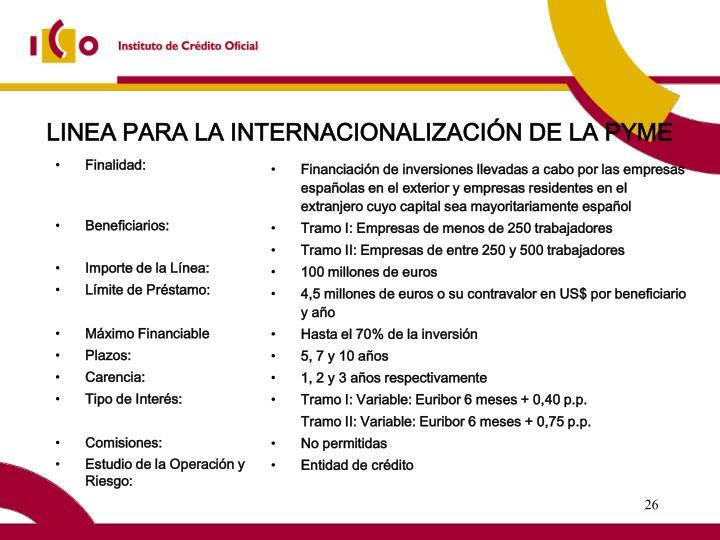 LINEA PARA LA INTERNACIONALIZACIÓN DE LA PYME