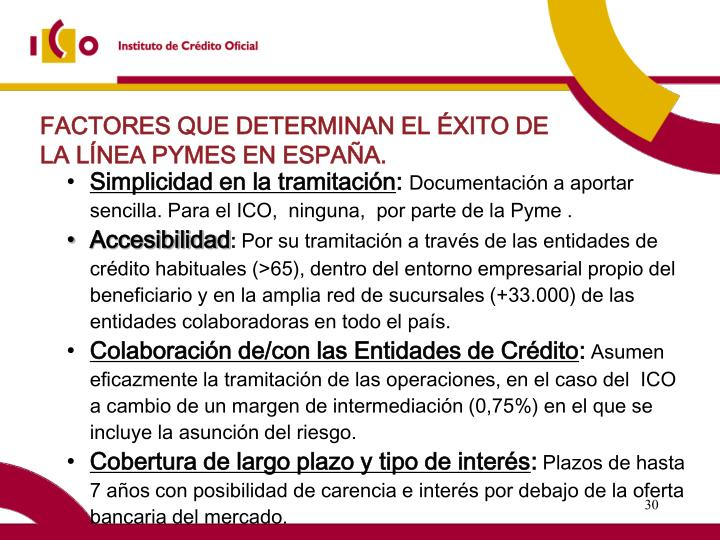 FACTORES QUE DETERMINAN EL ÉXITO DE LA LÍNEA PYMES EN ESPAÑA.