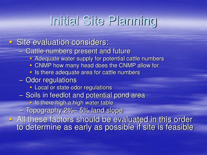 Initial Site Planning