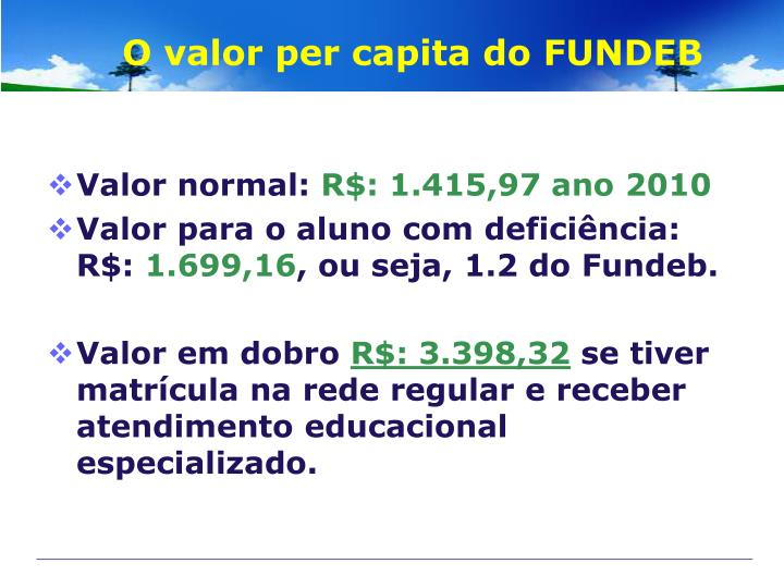 O valor per capita do FUNDEB