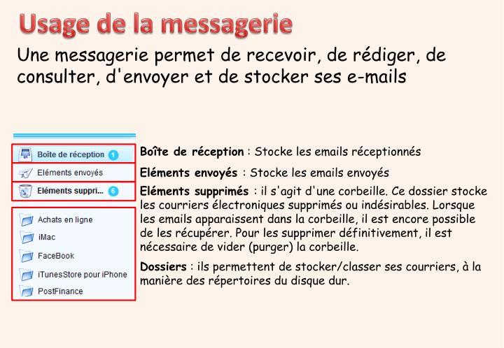 Usage de la messagerie