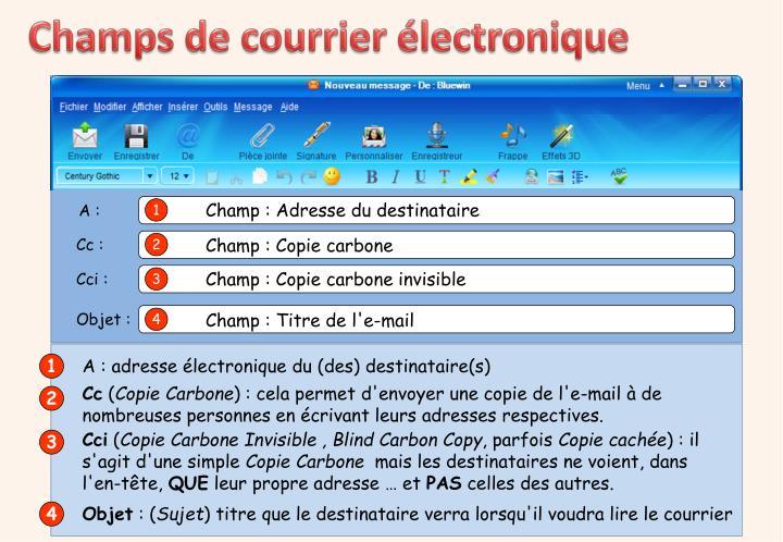 Champs de courrier électronique