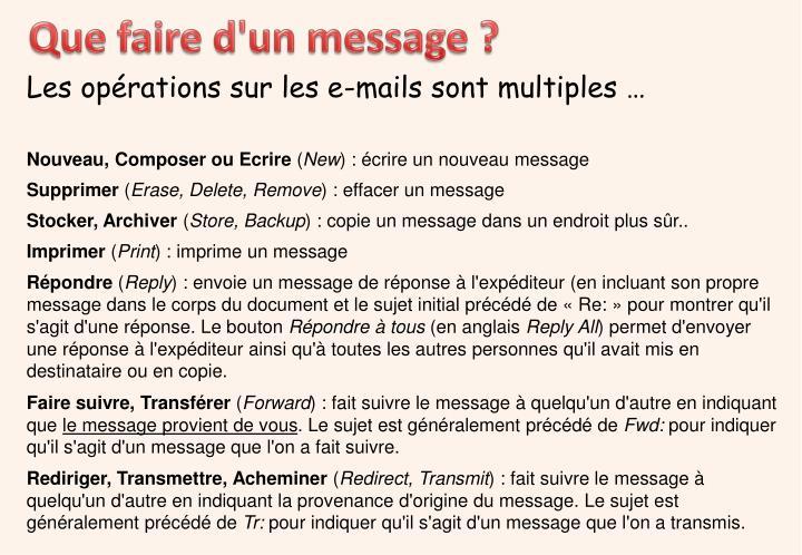 Que faire d'un message ?