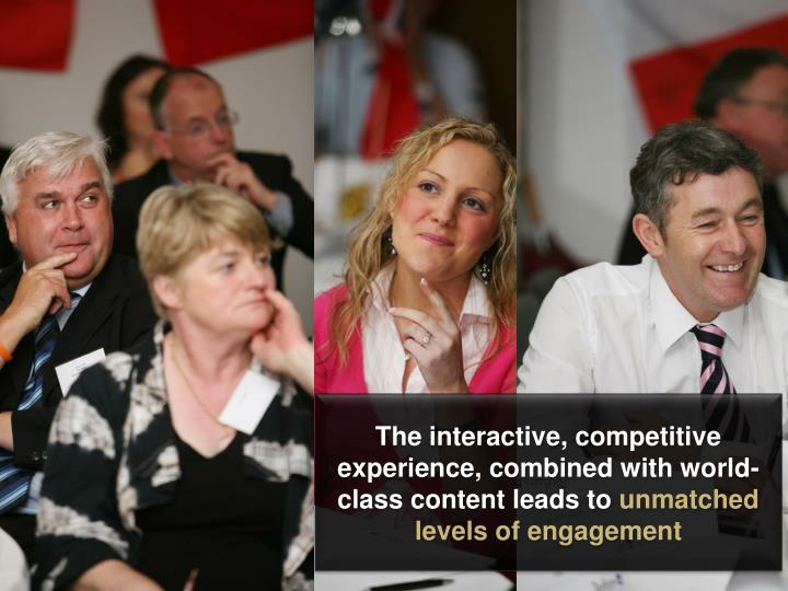 The interactive, competitive experience, combined with world-class content leads to