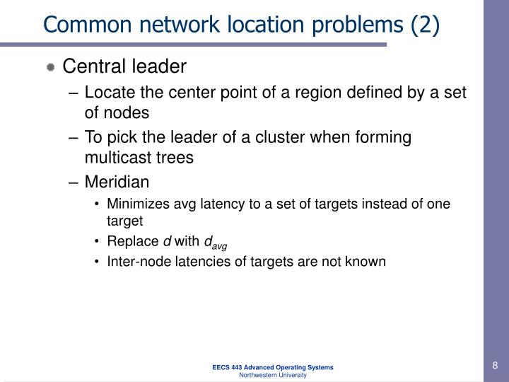 Common network location problems (2)