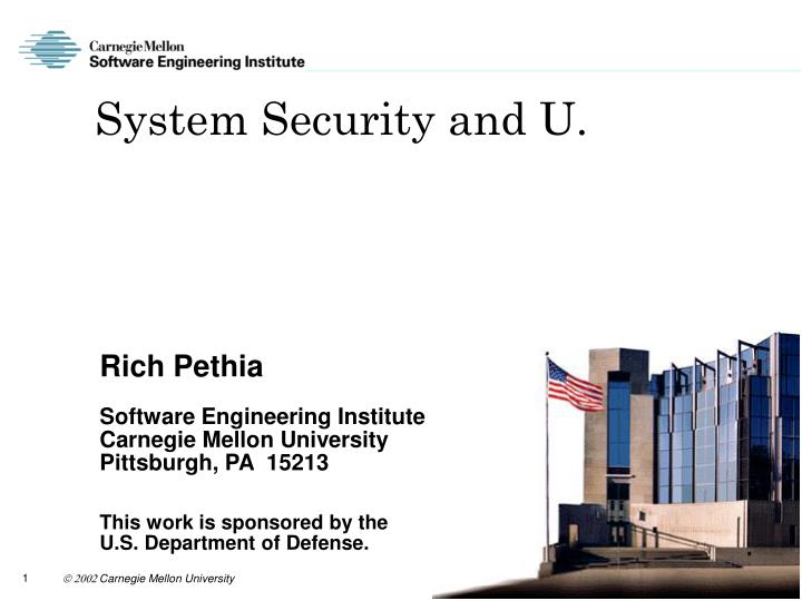 System security and u