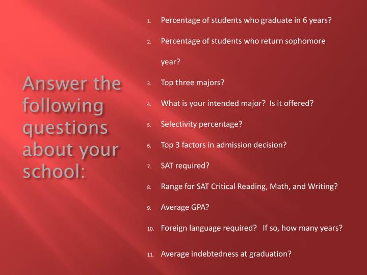 Answer the following questions about your school: