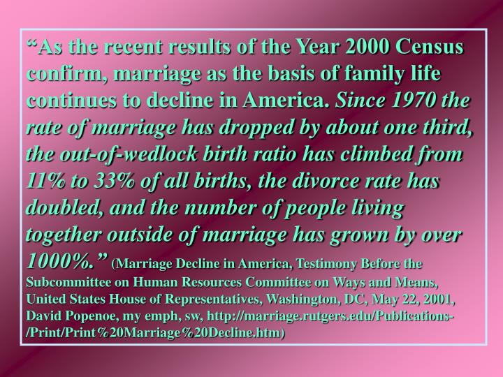 """As the recent results of the Year 2000 Census confirm, marriage as the basis of family life conti..."