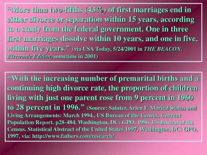"""More than two-fifths (43%) of first marriages end in either divorce or separation within 15 years, according to a study from the federal government. One in three first marriages dissolve within 10 years, and one in five, within five years."""