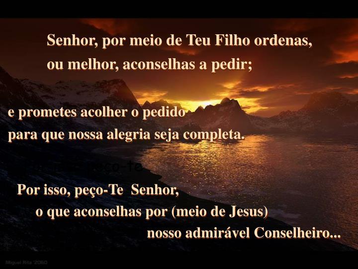 Senhor, por meio de Teu Filho ordenas,
