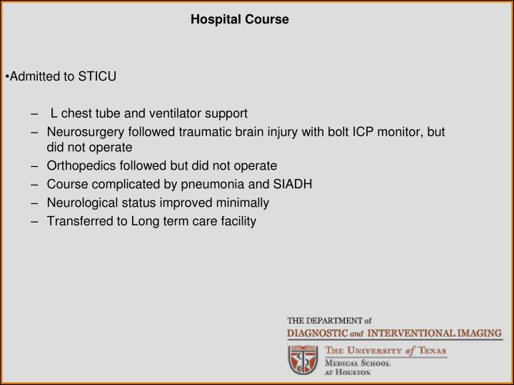 Admitted to STICU