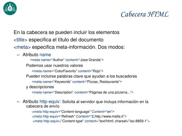 Cabecera HTML