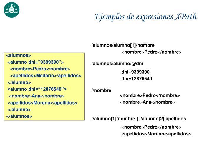 Ejemplos de expresiones XPath
