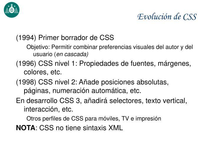 Evolución de CSS