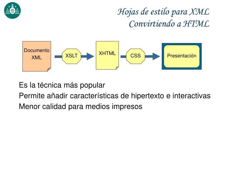 Hojas de estilo para XML