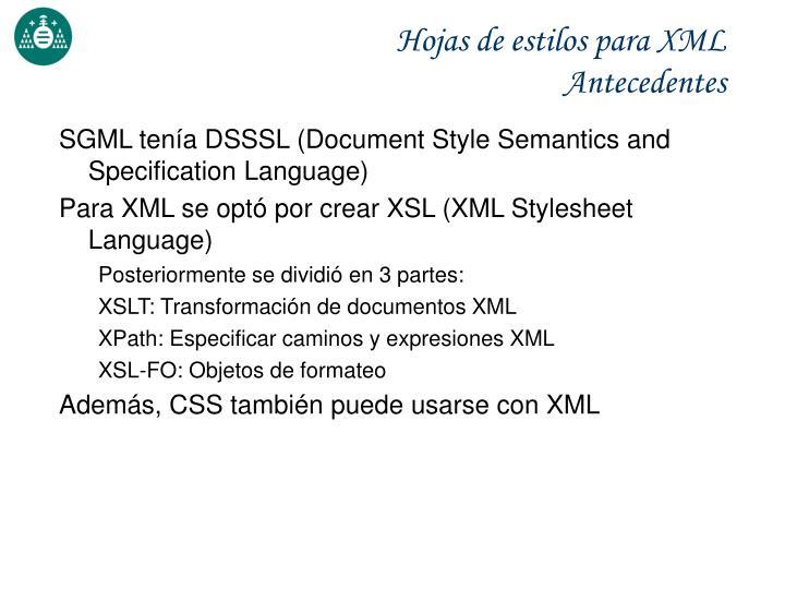 Hojas de estilos para XML