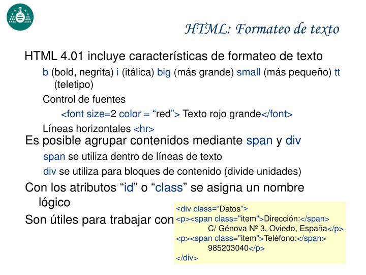 HTML: Formateo de texto