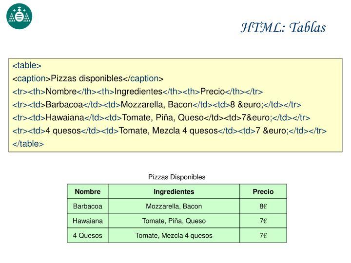 HTML: Tablas