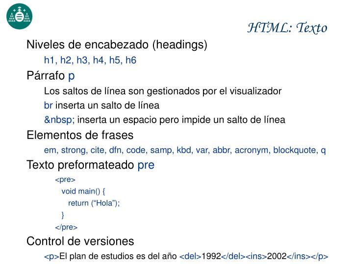 HTML: Texto