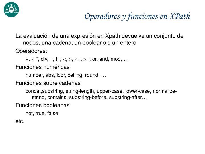Operadores y funciones en XPath