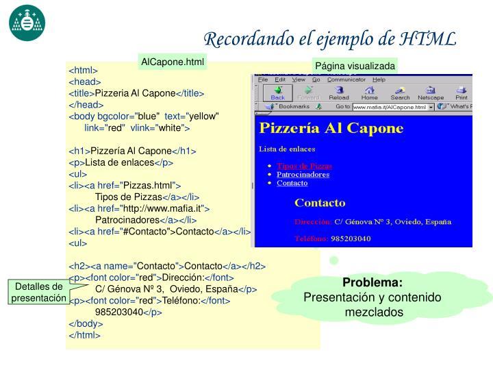 Recordando el ejemplo de HTML