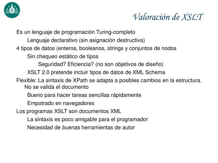 Valoración de XSLT