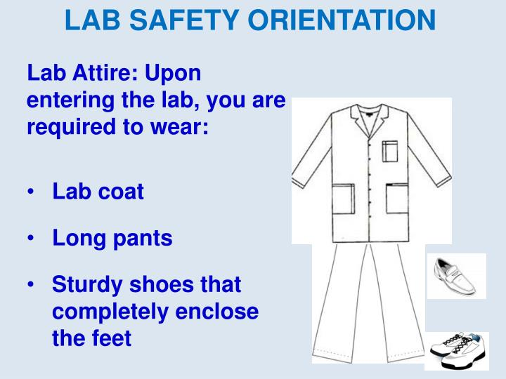 Lab Attire: Upon entering the lab, you are required to wear: