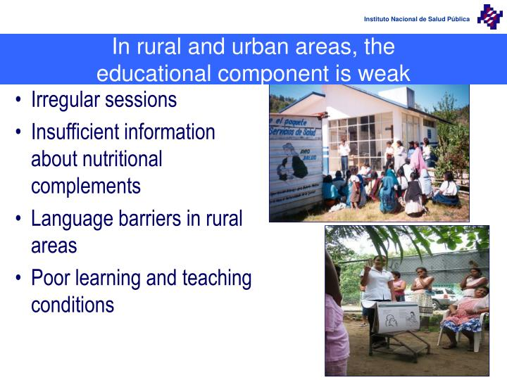 In rural and urban areas, the