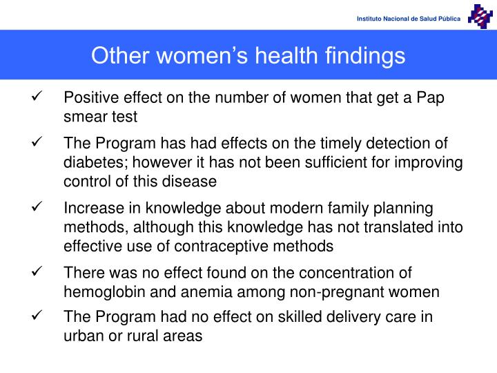 Other women's health findings